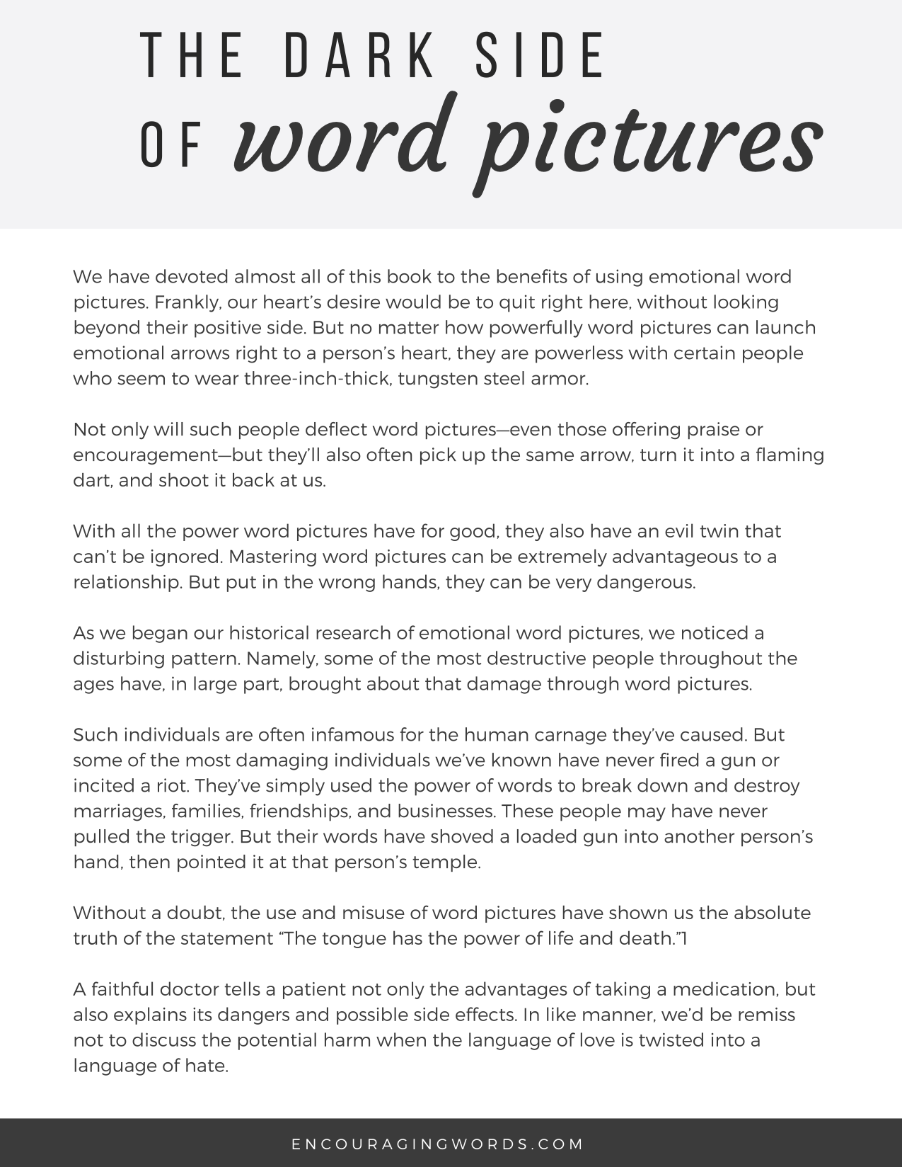 Bonus Chapter: The Dark Side of Word Pictures – The Language